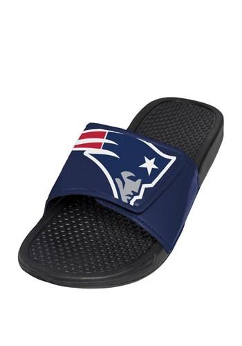 New England Patriots Men's Cropped Big Logo Slide Flip Flops