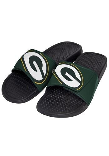 Green Bay Packers Mens Cropped Big Logo Slide Flip Flops