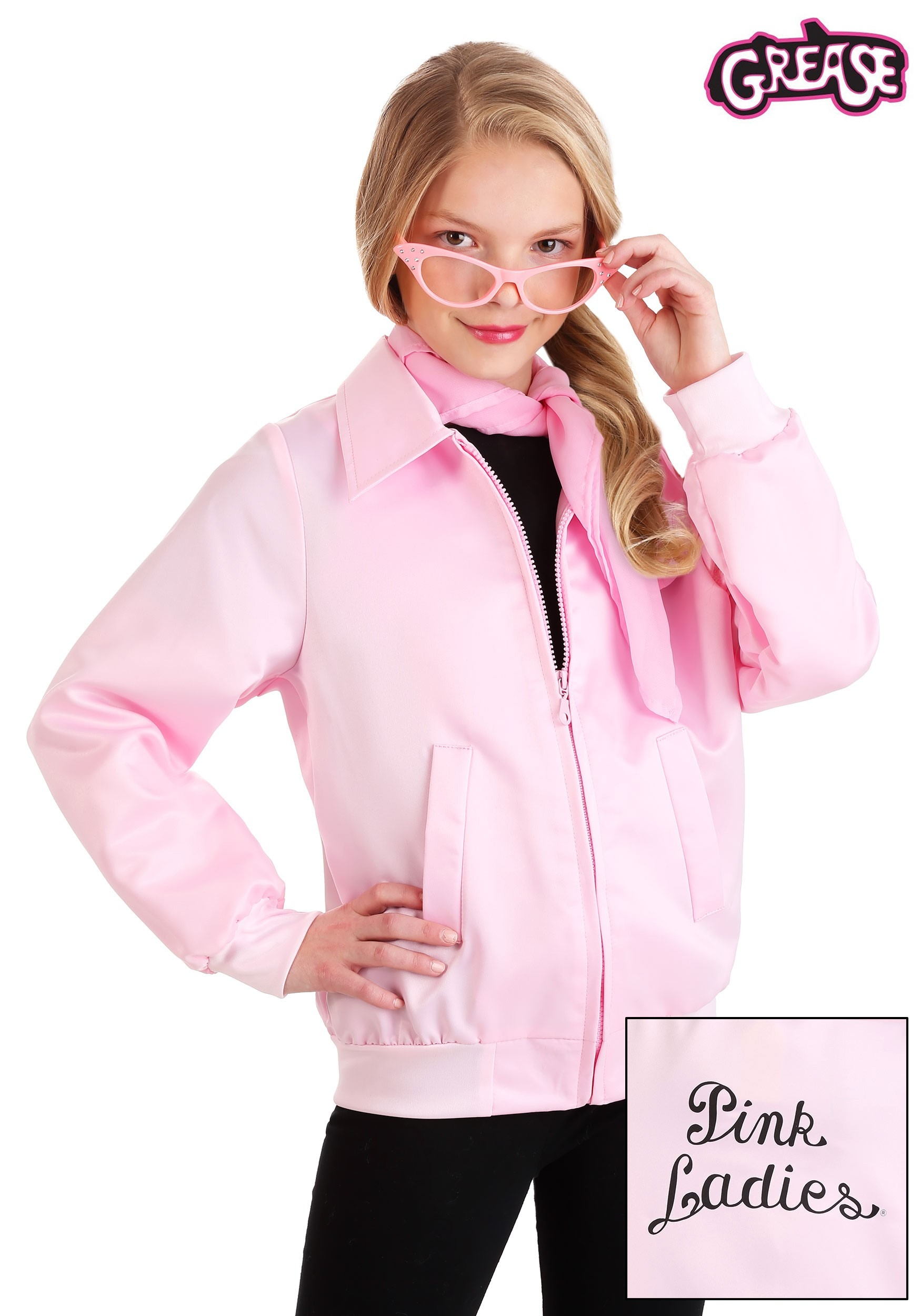 Girls Pink Ladies Jackets Official Grease Kids Childrens Fancy Dress Costume