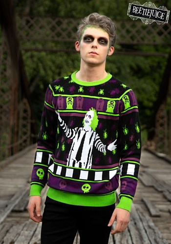 Adult Beetlejuice It's Showtime! Ugly Halloween Sweater 1