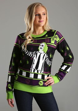 Adult Beetlejuice It's Showtime! Ugly Halloween Sweater4