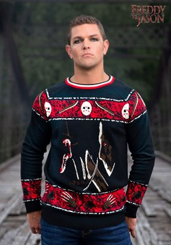 Adult Freddy vs Jason Ugly Halloween Sweater 1