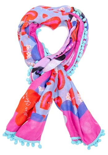 Irregular Choice Cupid Bird Print Pom Pom Parade Scarf