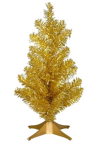 Mini 14 Inch Gold Tinsel Christmas Tree