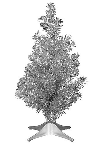 Mini Christmas Silver Tinsel Tree 14inch