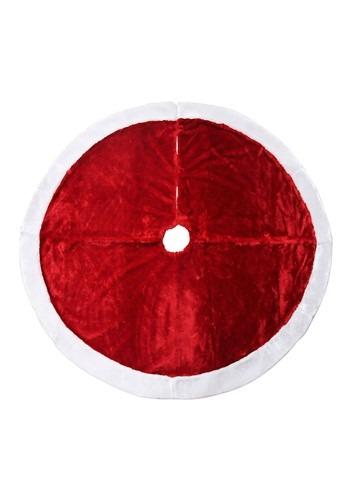 Basic Red Christmas Tree Skirt w/ White Fur 48in