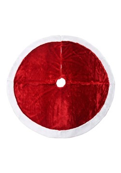 Basic Red Christmas Tree Skirt w/ White Fur 48in