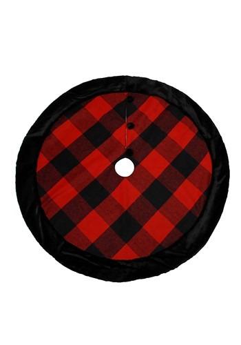Buffalo Check Christmas Tree Skirt w/ Fur 48in