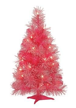 Iridecent Pink/Red Christmas Tree w/Glitter