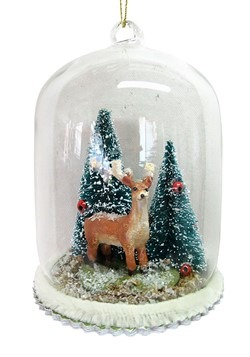 Reindeer in Dome Glass Christmas Ornament