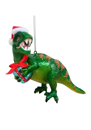 Green Dinosaur Glass Christmas Ornament