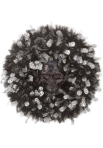 18in Tinsel Skull Halloween Wreath1