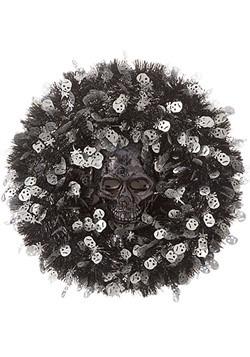 18in Tinsel Skull Halloween Wreath1