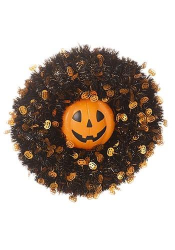 Tinsel Pumpkin 18 Inch Halloween Wreath