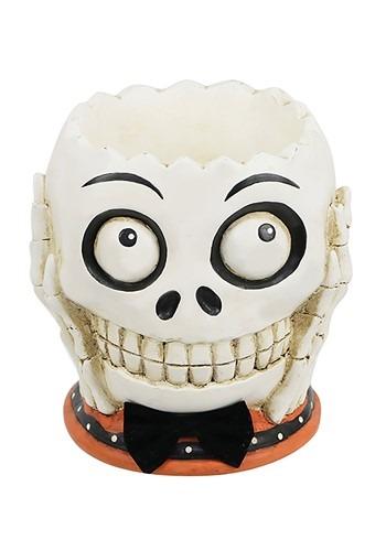 Skull Head w/ Bowtie Tabletop Halloween Treat Bowl