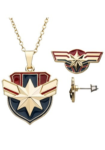Captain Marvel Necklace Earring Set