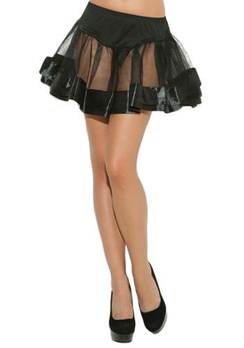 Black Satin Petticoat for Women