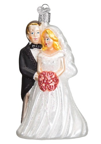 Glass Blown Bridal Couple Ornament