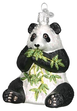 Panda Bear Glass Blown Hanging Ornament