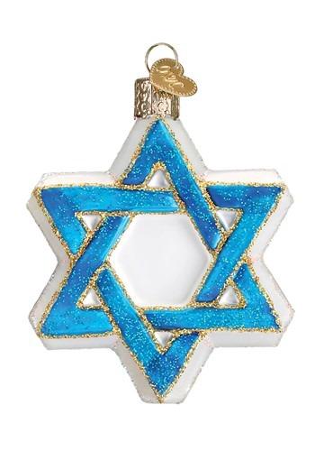Star of David Glass Blown Hanging Ornament