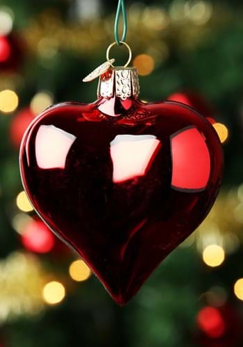 Shiny Red Heart Glass Blown Ornament