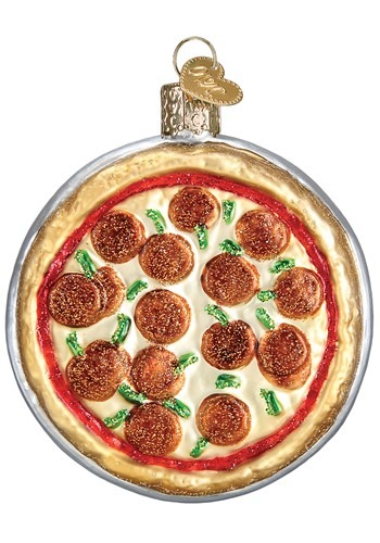 Pizza Pie Glass Blown Ornament
