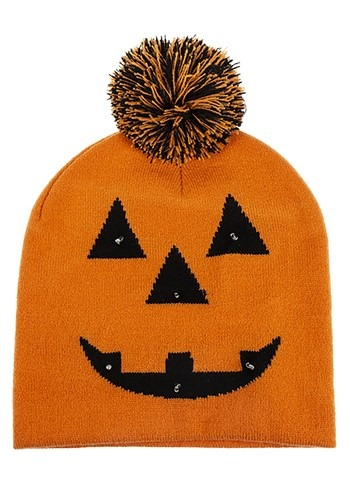 Light Up Jack O Lantern Pompom Knit Cap