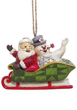 Frosty and Santa in Sleigh Jim Shore Ornament