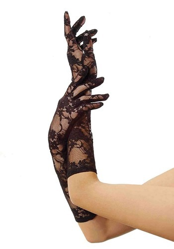 Womens Medium Length Black Lace Gloves