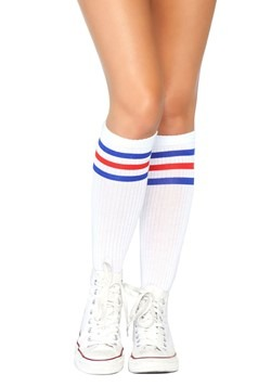 Red and Blue Striped Athletic Socks