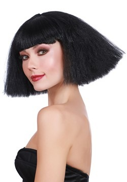 Black Crimped: Wedge Bob Wig 1