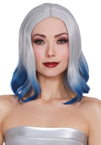 Grey and Blue Dip Dye Wig for Adults
