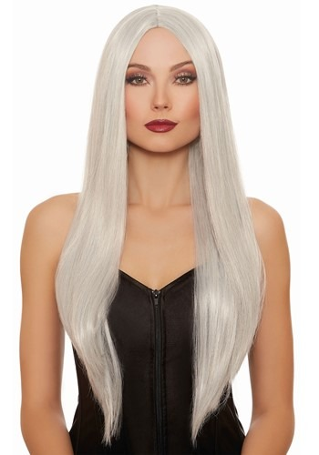Long Straight: Gray/White Mix Wig 1