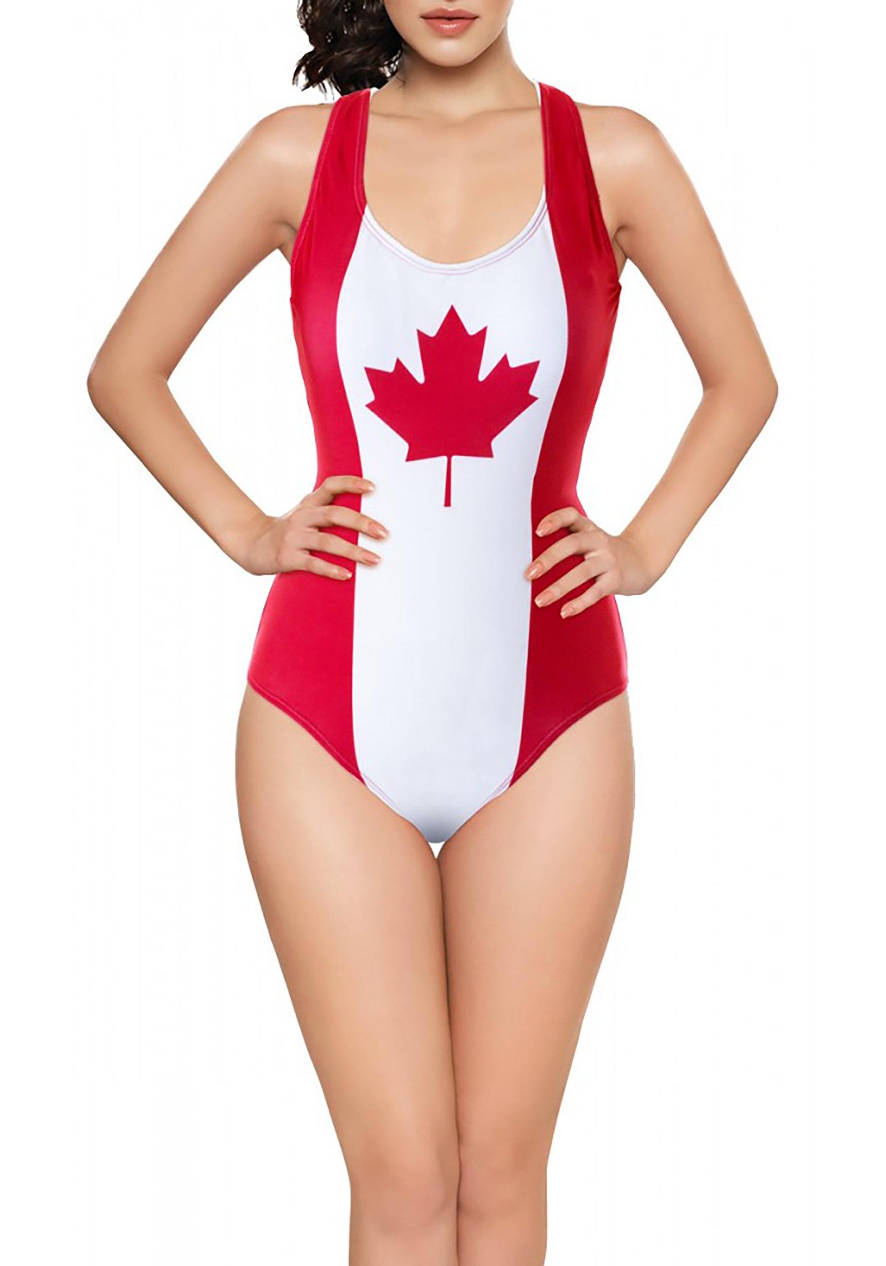 Canadian Flag One-Piece Women's Tank Swimsuit