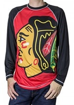 NHL Chicago Blackhawks Mens Long Sleeve Rash Guard T-Shirt