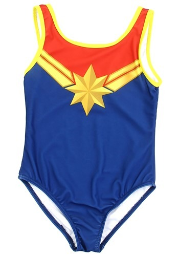 Marvel Comics Captain Marvel Girls Swimsuit