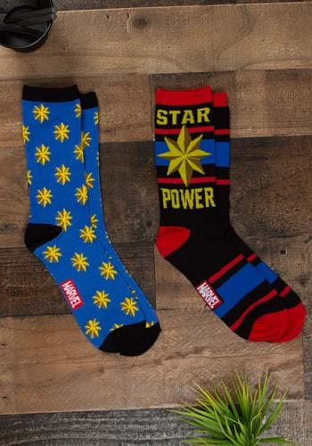 Adult Captain Marvel Star Power 2-Pack Casual Crew