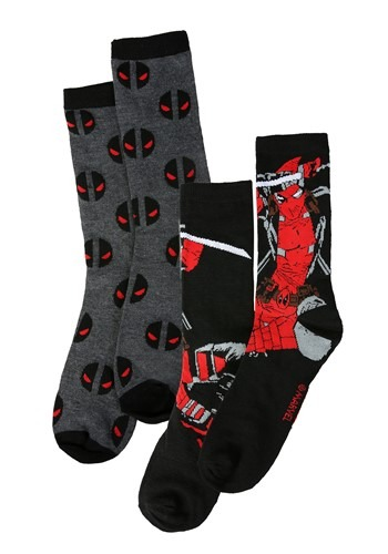 Adult Deadpool Black/Gray 2-Pack Casual Crew Socks