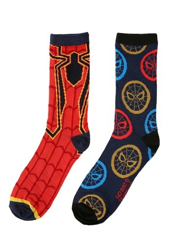 Adult Iron Spider Red/Navy 2-Pack Casual Crew Sock