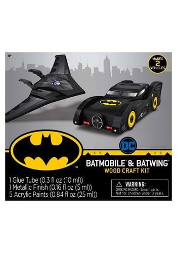 2 Pack Batman Mini Wood Paint Set Batmobile and Batwing