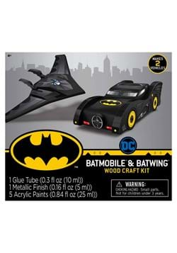 2 Pack Batman Mini Wood Paint Set Batmobile and Batwing