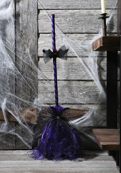 Purple Animated Shaking Broom Decor