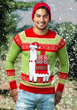 Adult Christmas Llama Ugly Sweater Alt 1