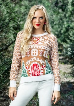 Womens Gingerbread House Ugly Christmas Sweater update1