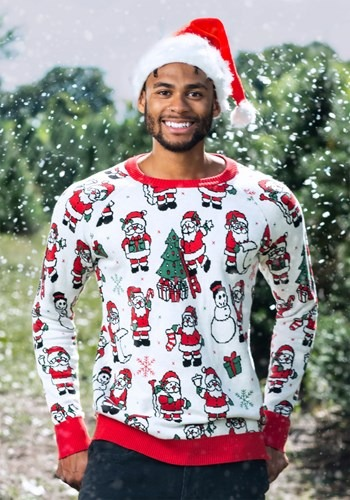 Adult Repeating Santa Pattern Ugly Christmas Sweater
