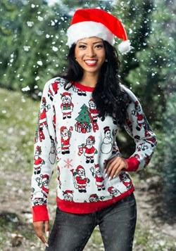 Adult Repeating Santa Pattern Ugly Christmas Sweater Alt 1