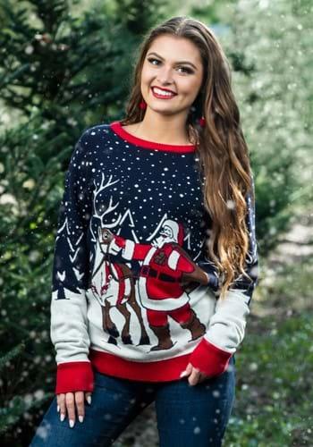 Adult Santa & Reindeer Unisex Ugly Christmas Sweater 1