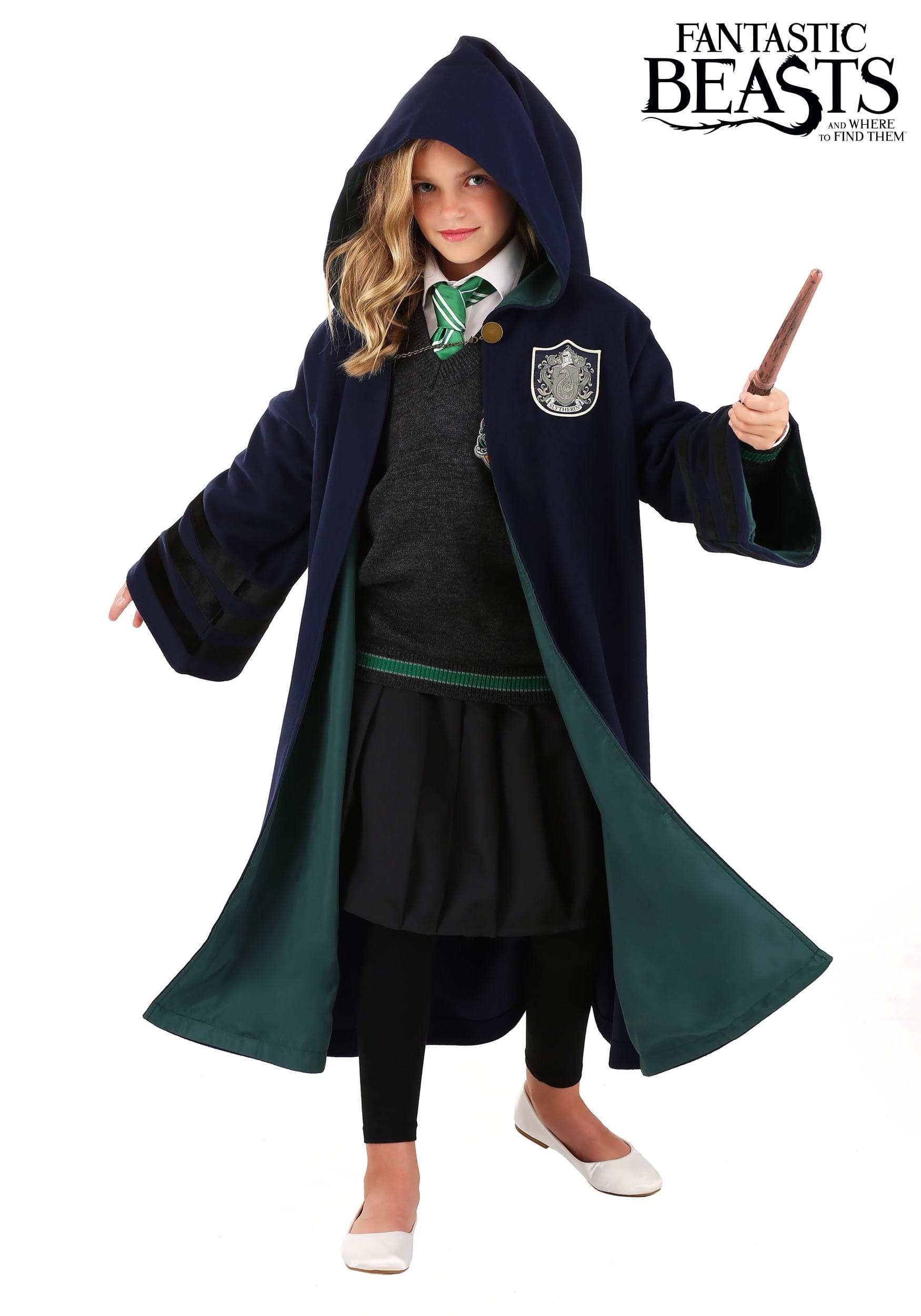 Vintage Hogwarts Slytherin Costume Robe For Kids