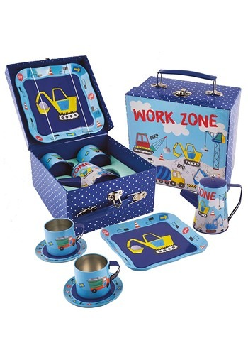 Construction Vehicles 7 Pc Tin Tea Set in Square Case