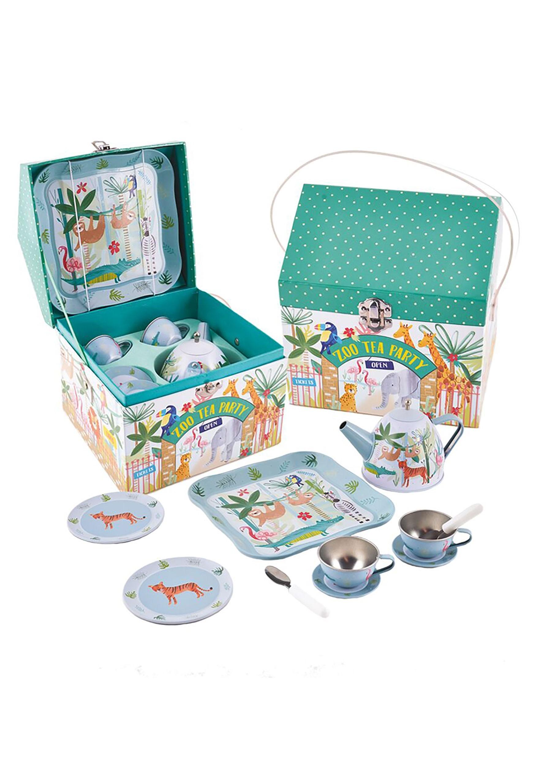 11pc Tin Tea Set: Jungle Animals in House Case